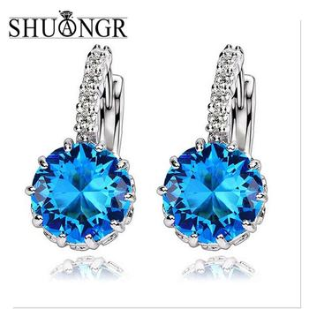 SHUANGR 9 Colors Silver Pink Blue Large Crystal Earrings with Stones Cubic Zirconia Women's Earings Boucle D'oreille Femme