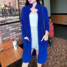 Чистый норковый кашемир длинное пальто Женская мода натуральный норковый кашемир натуральный мех куртка OEM свитер FP941