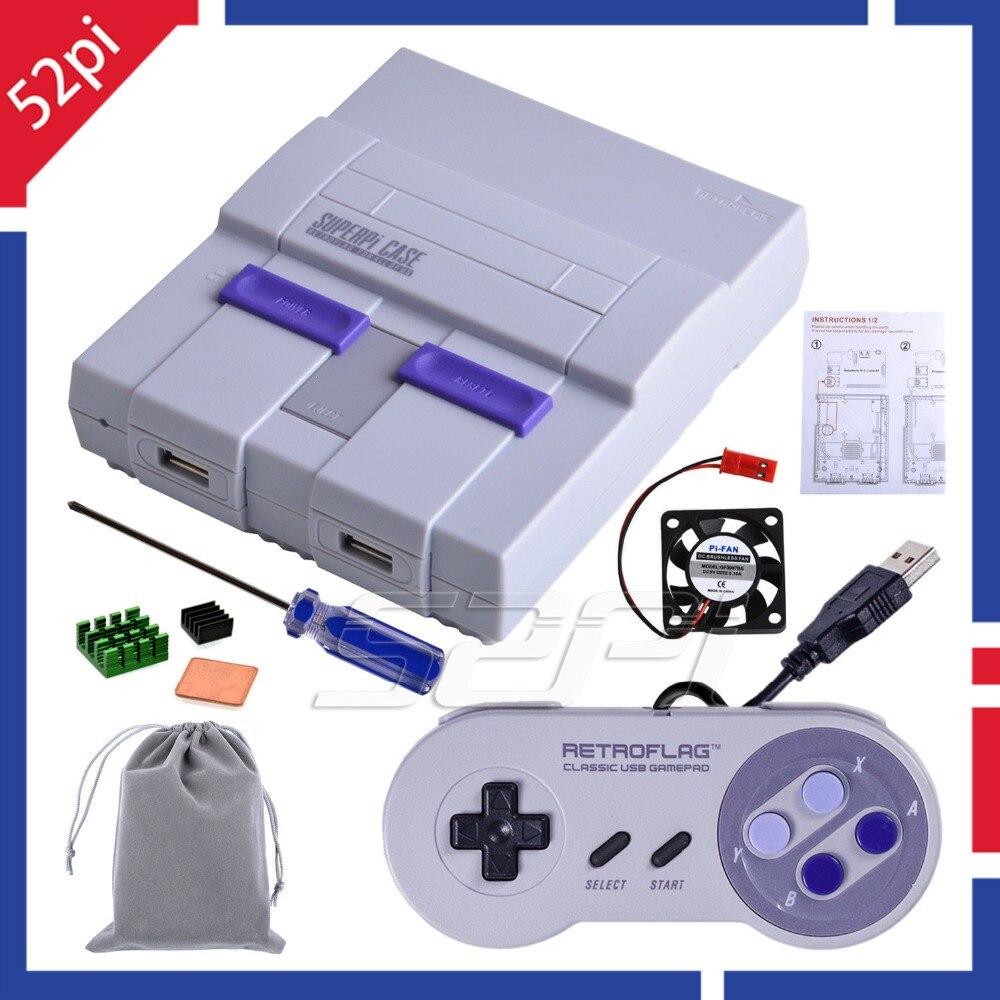Em Estoque! 52Pi Retroflag Original Pontuação Superpi CASE-U NESPi Caso Kit  com Opcional 3 Game Controller para Raspberry Pi B Plus/3 /2B