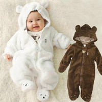 Autumn Winter Baby Rompers Bear Style Baby Coral Fleece Carters Hoodies Jumpsuit Baby Girls Boys Romper