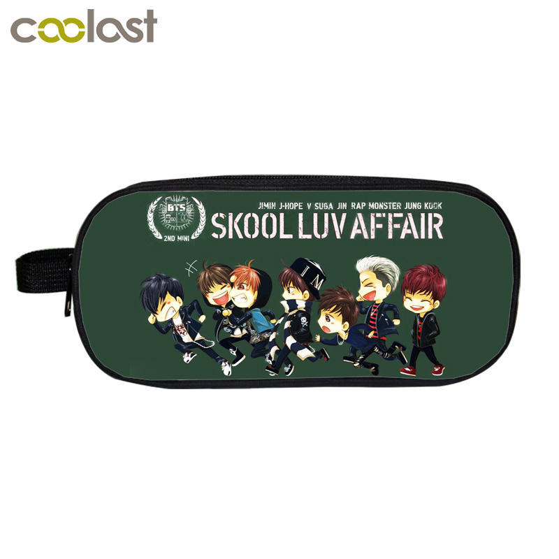 Kpop BTS Bangtan Boys Pencil Holder Cartoon WINGS SUGA School Supplies Case Boys Girls Bag K-pop Hip Hop Cosmetic Cases [pcmos] 2017 hot kpop bts bangtan boys army bomb ver 2 light stick a limited edition concert lamp fans gift collection 17031664