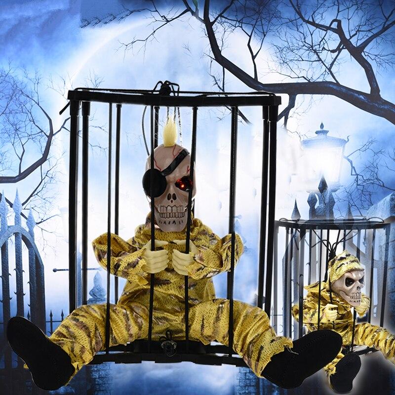 Acheter Halloween Prank Effrayant Électrique Cage Fantôme Squelette Suspendu Lueur Yeux Délicat Jouets Voix Contrôle Horreur Maison Hantée Évasion Accessoires de Partie BRICOLAGE Décorations fiable fournisseurs