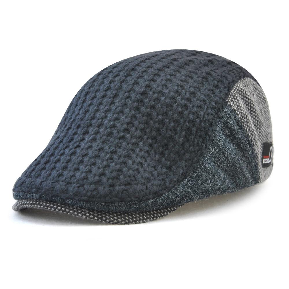 40551728f US $7.96 33% OFF|TOHUIYAN Mens Knitted Wool Newsboy Hat Winter Warm Beret  Cap Duckbill Visor Flat Cabbie Hats Gentleman Casual Boina Peaked Caps-in  ...
