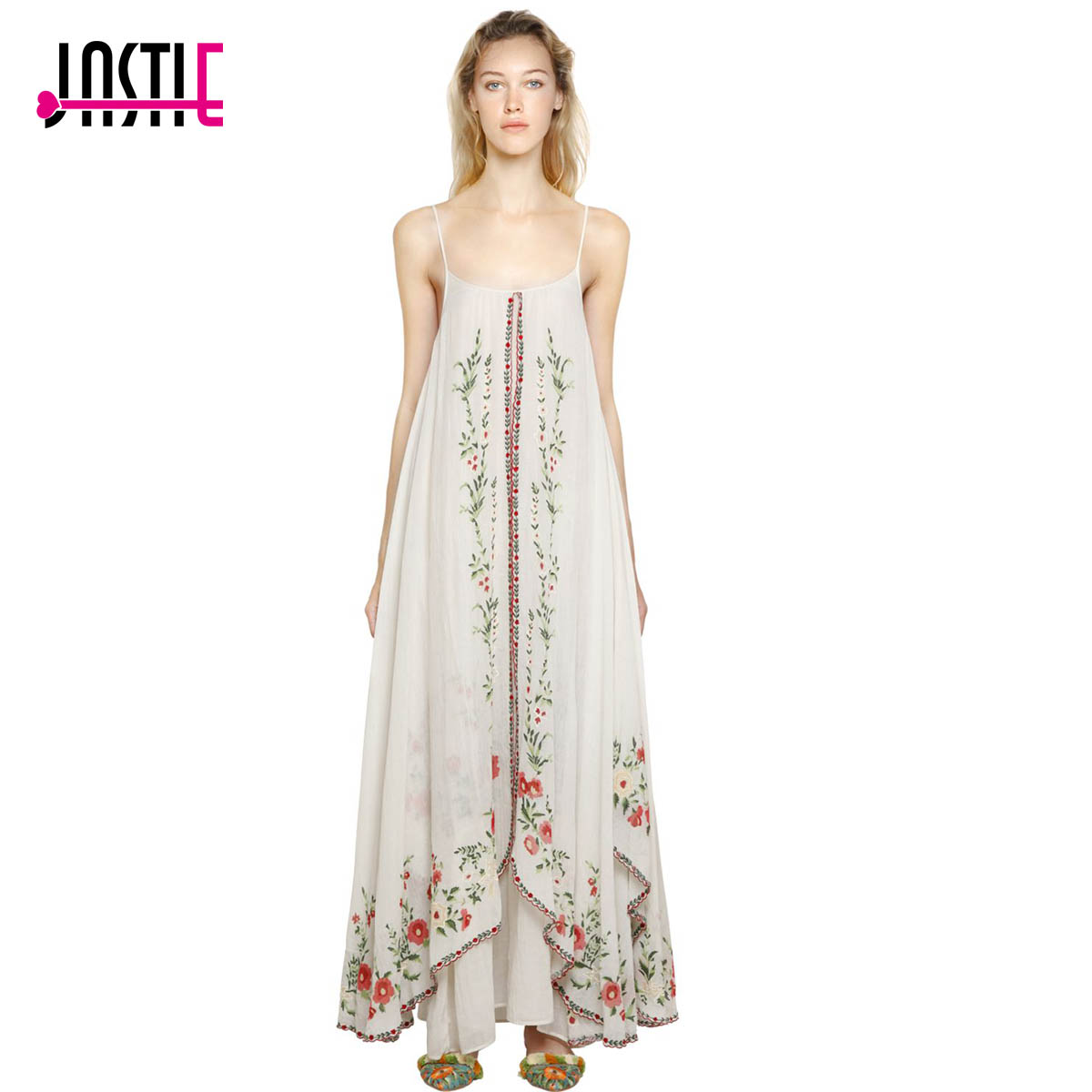 Jaatie Adjustable Straps Summer Dresses Floral Embroidered Maxi Dress Ruffle Hem Boho Dress Female Vestidos 2017 Women clothing knot side floral asymmetrical ruffle hem dress