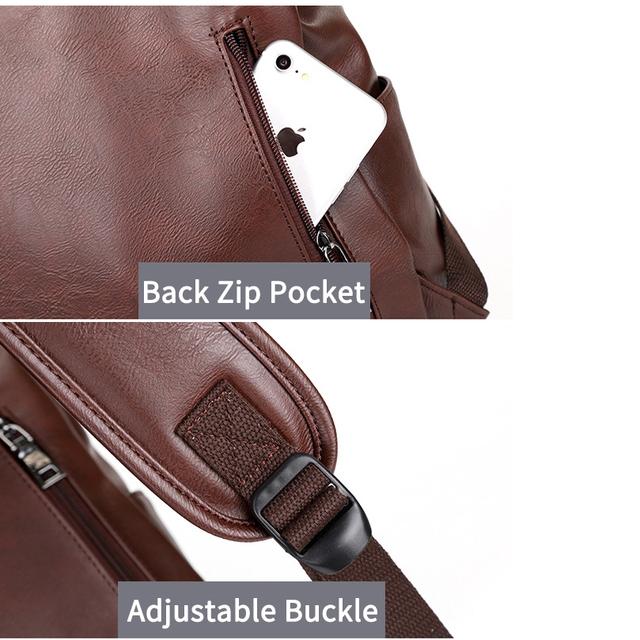 Vintage Men Backpack PU Leather Anti-theft Backpacks Man Waterproof Fashion Travel Bag Casual School Bag for Teenagers Backpack