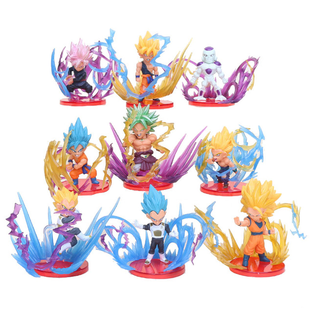 9 pcs Dragon Ball Super Saiyan Broly Goku Son Gohan Vegeta Frieza Explosão Collectible Modelo Toy Action Figure PVC