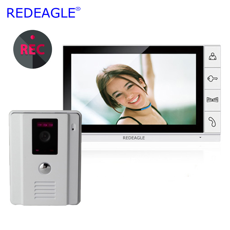 REDEAGLE 9 inch Monitor Wired Video Door Phone recording Intercom Entry Security System with Wide Angle Camera MAX. 32GB Record