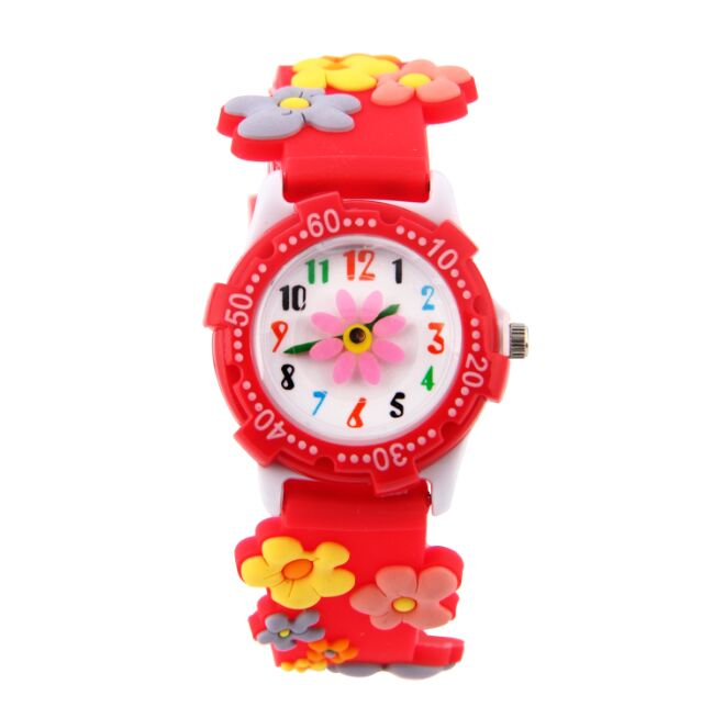 2016 new fashion boys girls silicone Flowers Cartoon Watch for kids cartoon watch for children christmas gift clock new fashion design unisex sport watch silicone multi purpose date time electronic wrist calculator boys girls children watch
