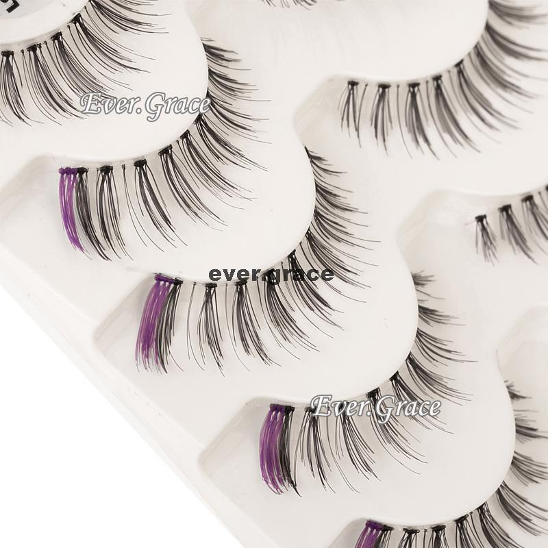 ICYCHEER 5 Pairs Purple & Black Makeup Fancy False Eyelashes Eye Lashes Extension Handmade