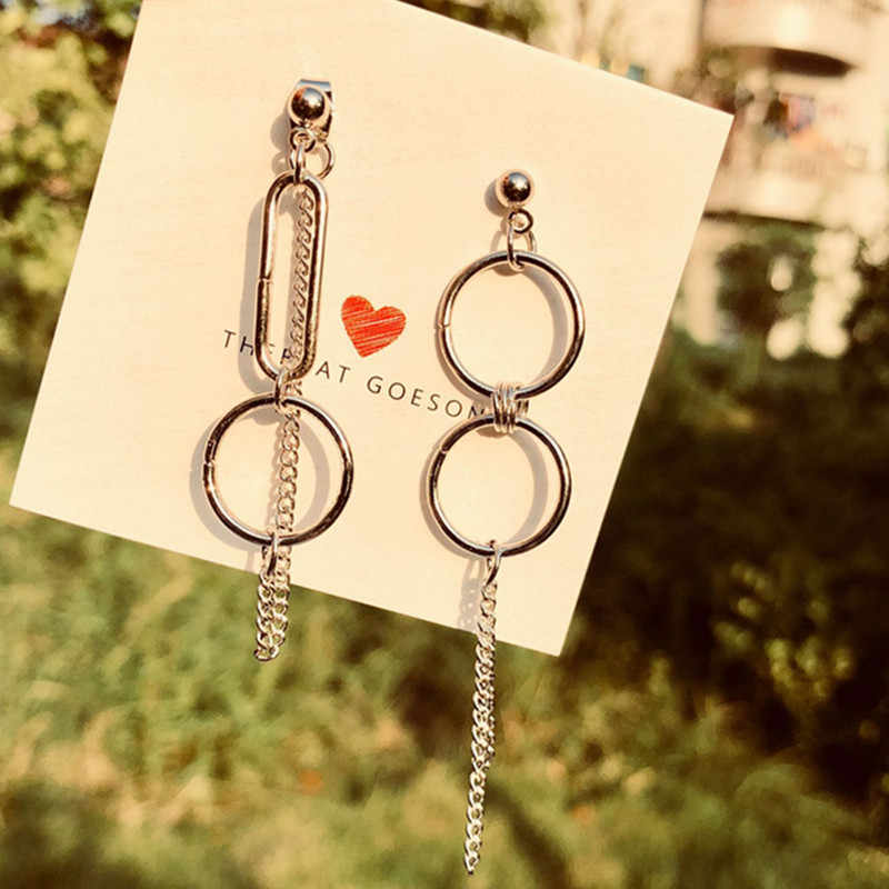 New fashion jewelry bohemian earrings asymmetric round chain street port wind fringe earrings ladies round long earrings
