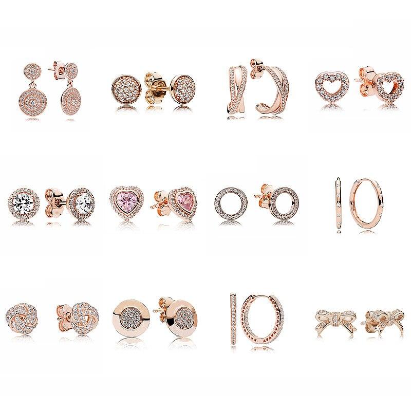 Oro rosa Scintillante Firma Nodo D'amore Eleganza 925 Sterling Silver Orecchini Borchie Per Le Donne Regalo di Nozze Gioielli Pandora