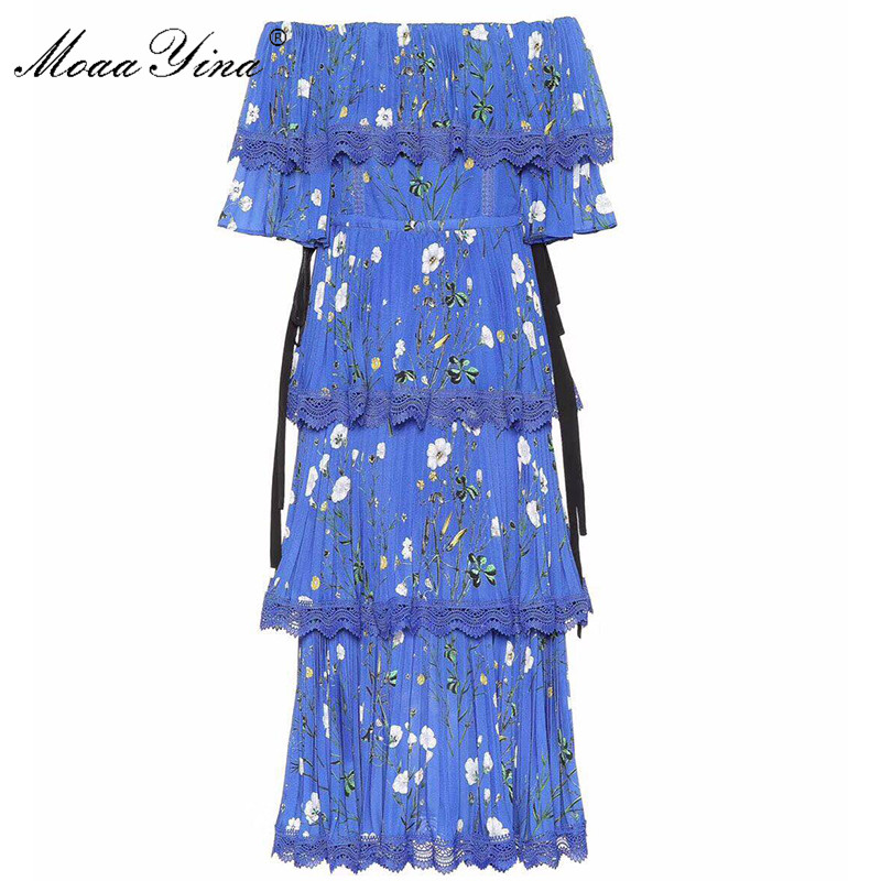 MoaaYina High Quality Fashion Designer Runway Dress Spring Summer Women Blue Floral-Print Cascading Ruffle Vacation Dresses