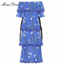 Moaayina 고품질 패션 디자이너 런웨이 드레스 봄 여름 여성 블루 플로랄 프린트 캐스 케이 딩 프릴 휴가 드레스