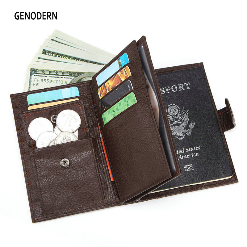 GENODERN Fashion New Passport Cover For Men Large Functional Men Wallet With Passport Holder Coin Purse Men Organizer Wallets