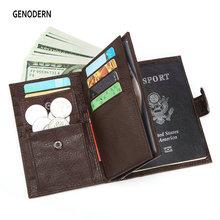GENODERN Fashion New Passport Cover for Men Large Functional Men Wallet with Passport Holder Coin Purse Men Organizer Wallets
