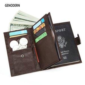 Image 1 - GENODERN funda de pasaporte para hombre, cartera funcional grande con soporte para pasaporte, monedero, organizador de carteras