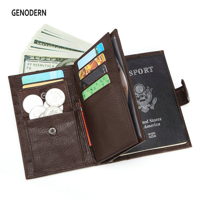 GENODERN funda de pasaporte para hombre, cartera funcional grande con soporte para pasaporte, monedero, organizador de carteras