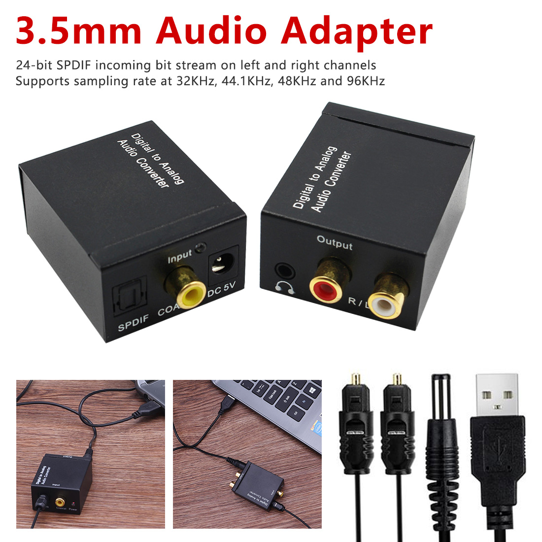 Digital To Analog Audio Converter  3.5mm Jack Audio Adapter Coaxial Signal To Analog Stereo Audio Adapter