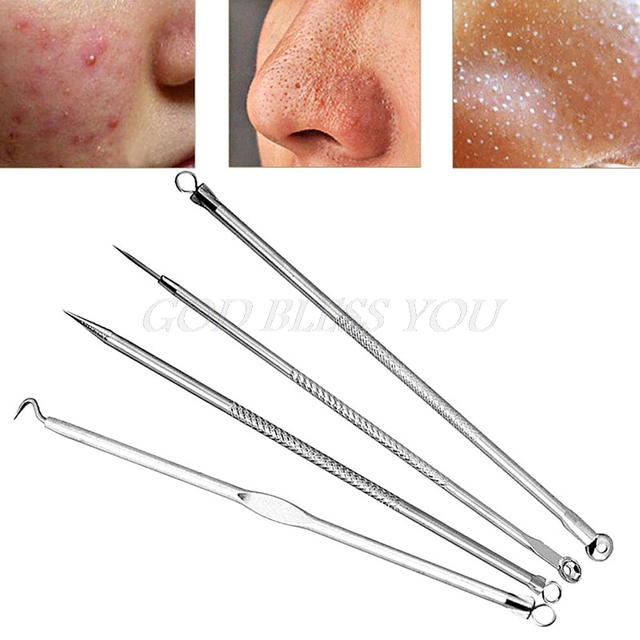 High Quality 4Pcs Acne Blemish Pimple Extractor Tool Blackhead Comedone Remover Drop Shipping 3