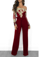 Overalls For Women Elegant Long Sleeve Slash Neck Embroidery Autumn Rompers Womens Jumpsuit Body Suit Plus Size Female Trousers