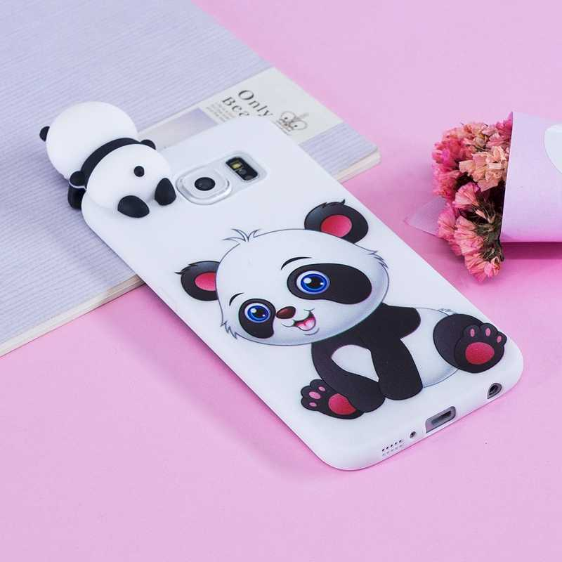 S6 sFor Coque Samsung Galaxy S6 G920 Case Edge 3D Cartoon Cat Panda Soft Silicon Back Cover For Samsung S6 S 6 Edge Capinha Etui