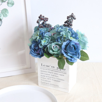 Free shipping Silk Flower 10 Bouquets Artificial Flowers Vivid Peony Fake Leaf Wedding Home Party Decoration