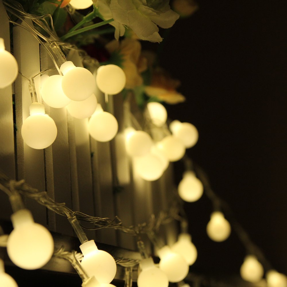 Outdoor Led Party Lights: 10M 100 LED Globe String Lights Warm White/White Ball Fairy Light for Party  Christmas,Lighting