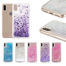 For iphone X case Love Heart Stars Glitter Liquid Quicksand Silicone Back Cover For iphone 6 6s 7 8 plus Soft TPU Case shooting stars patterned protective tpu back case cover for iphone 6 plus black multi colored