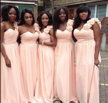 2014 Plus Size Peach Bridesmaid Dresses Birdal Gowns One Shoulder Chiffon Vestido De Festa Cheap Party Dress Custom Make