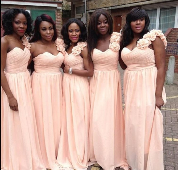 2014 Plus Size Peach   Bridesmaid     Dresses   Birdal Gowns One Shoulder Chiffon Vestido De Festa Cheap Party   Dress   Custom Make