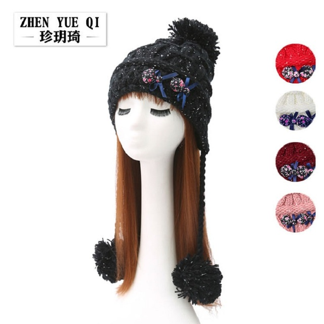 Fashion women ponytail beanie cap Double-deck Skullies Winter Women Hats Girls Knitted Cap Cute Ponytail gorros mujer invierno