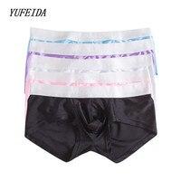 5PCS/LOT Sexy Men's Underwear Silky Comfortable Solid Brand Boxers U Fashion Style Underwear Men Boxer Shorts Trunk