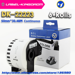 6 rolek kompatybilny DK-22223 etykiety 50mm * 30.48M ciągła kompatybilność drukarki Brother QL-570 QL-700 wszystkie wyposażone są w uchwyt z tworzywa sztucznego