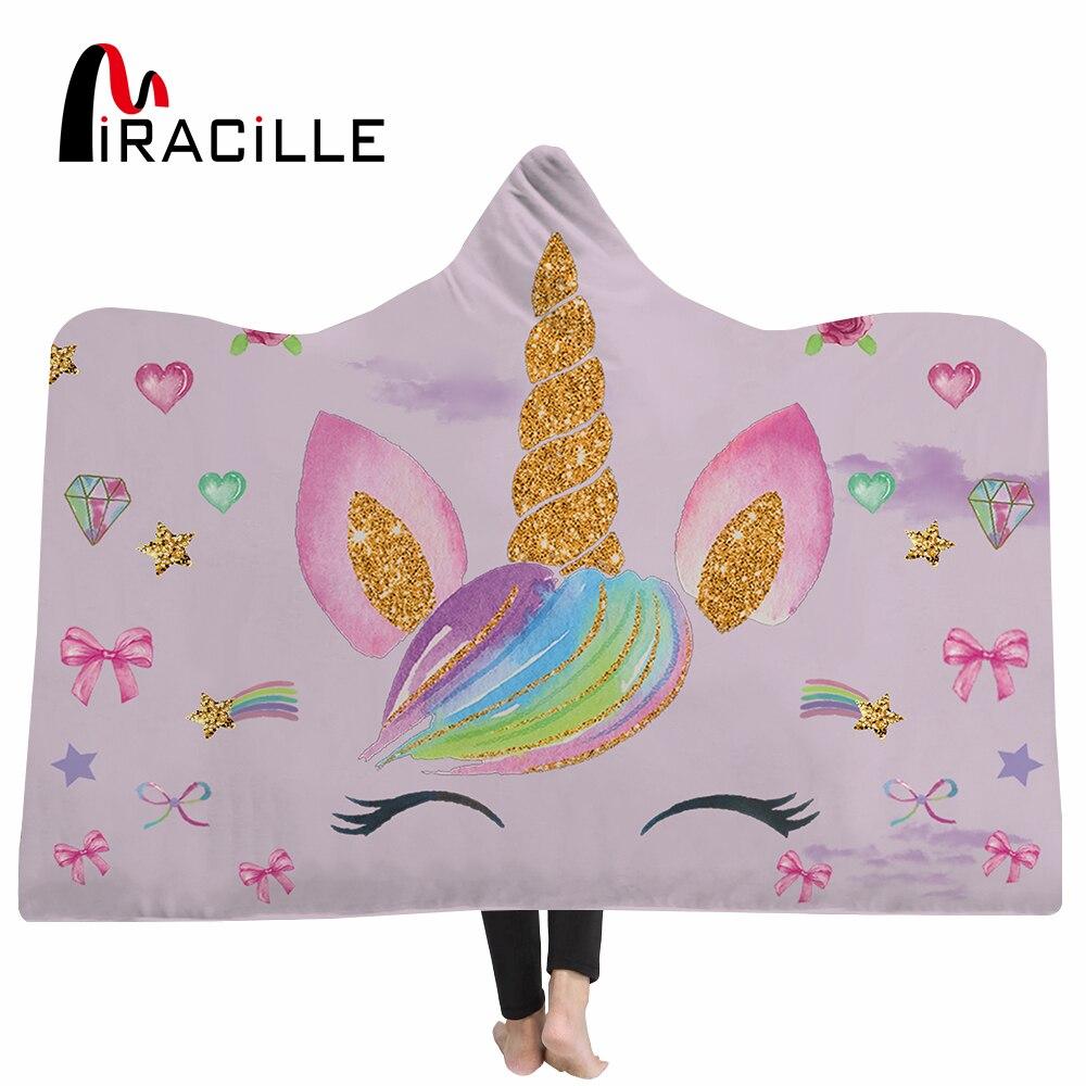 Miracille Unicorn Hooded Blanket For Women Cartoon Emoji For Kids Floral Sherpa Fleece Wearable Pink Microfiber Throw Blanket-in Blankets from Home & Garden    1