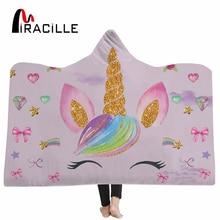 Miracille Unicorn Hooded Blanket For Women Cartoon Emoji Kids Floral Sherpa Fleece Wearable Pink Microfiber Throw