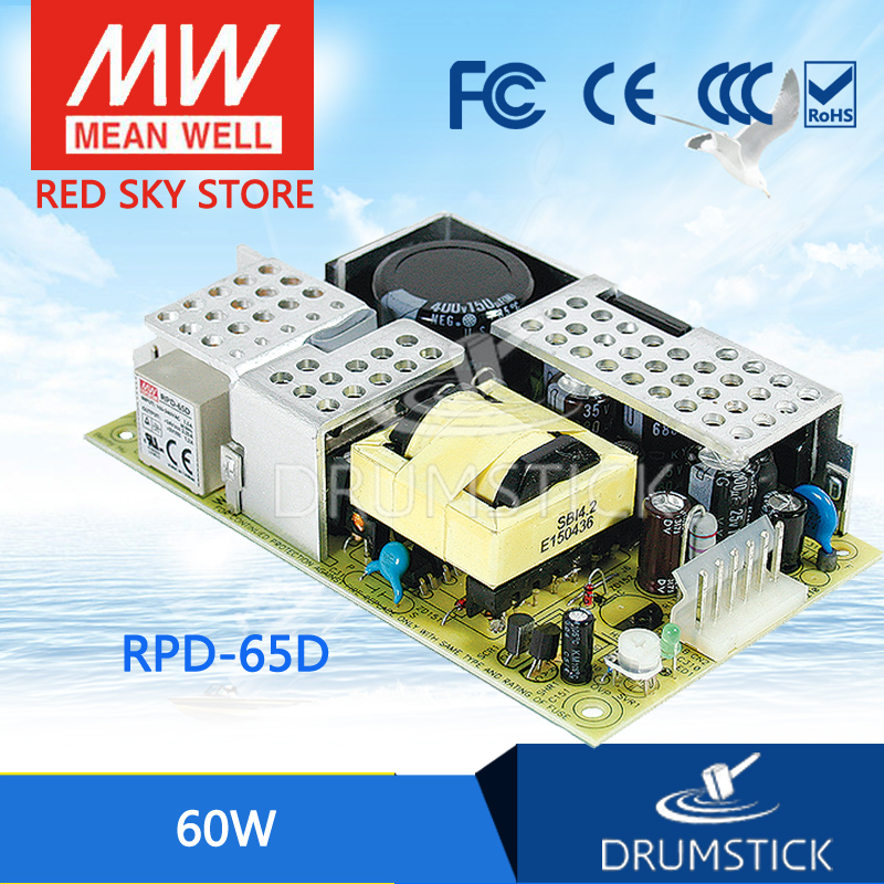 Selling Hot MEAN WELL RPD-65D meanwell RPD-65 60W Dual Output Switching Power Supply PCB type dhl eub 5pcs new mean well switching power supply d 60a 5v 12v 60w 015 17