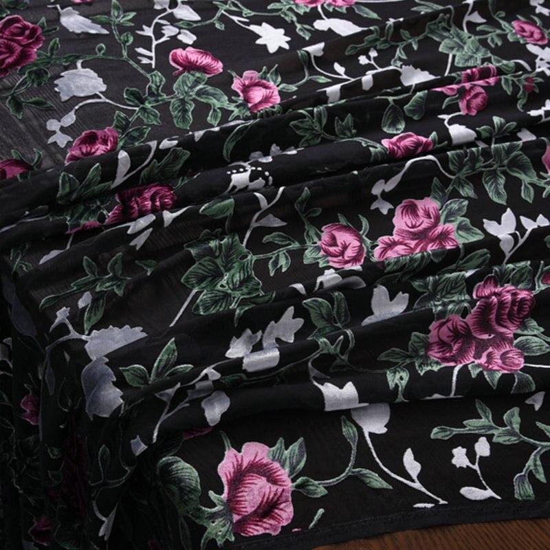 flower Burnout Silk Velvet Fabric for silk velour dress plant Free Shipping