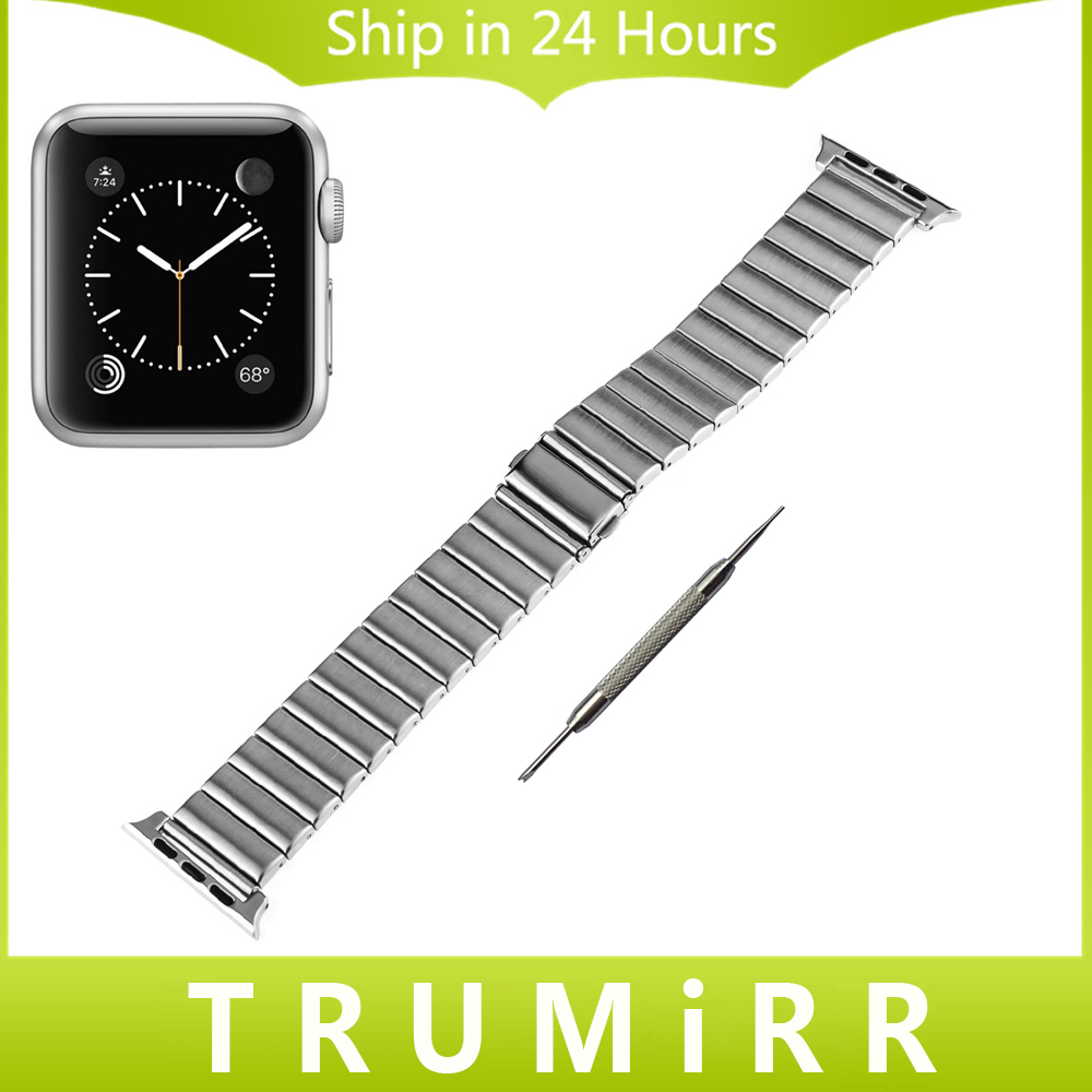 Stainless Steel Watchband All Links Removable + Adapters for iWatch Apple Watch 38mm 42mm Band Wrist Strap Bracelet Black Silver silicone rubber watchband adapters for iwatch apple watch 38mm 42mm wrist strap stainless steel buckle band bracelet black