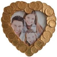 심장 모양의 4x4 사진 프레임 장식 웨딩 테이블 장식 커플 선물 골드 동전 테두리 사진 프레