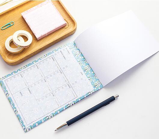 Мятный цветочный недатированный ежемесячный недельный планировщик бумага Pad 20 простыни детские школы офисные принадлежности 1 шт