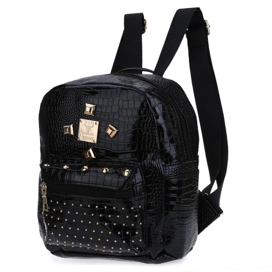 high quality pu leather women backpack fashion rivet metal school backpacks for teenage girls travel school