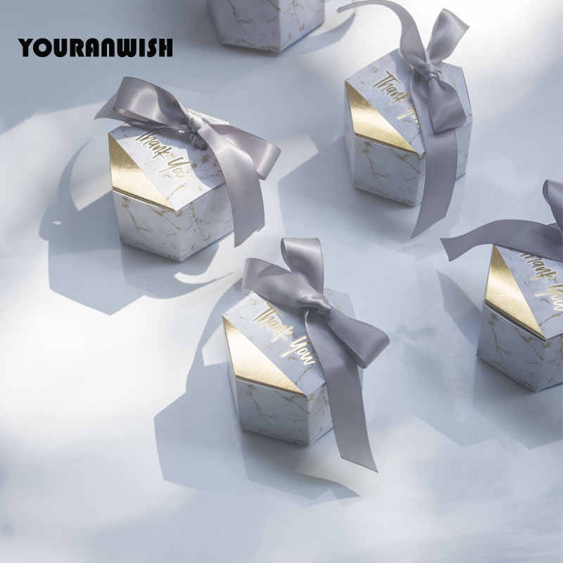 YOURANWISH 50pcs New Creative Marbling style Candy Boxes Wedding Favors Party Supplies Baby Shower thanks Gift Box
