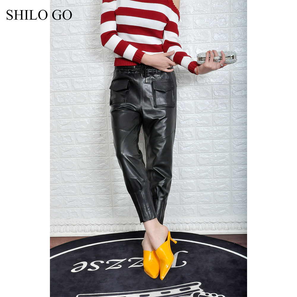 Cravate Haute Poche Côté Peau Shilo Extensible Aller Taille Mouton Mode Pantalon Crayon Cuir D'été De Véritable En Femmes x6Z8xqaPw