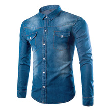 Denim shirt mens autumn denim clothing solid color washed large size S-5XL slim casual long-sleeved
