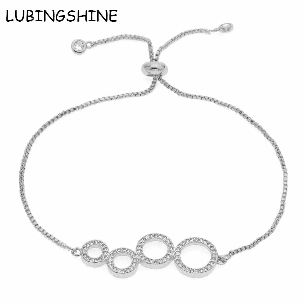 LUBINGSHINE Charm Bracelet For Women Round Circle AAA Cubic Zircon Adjustable Bracelets & Bangles Friend Party Gift Jewelry