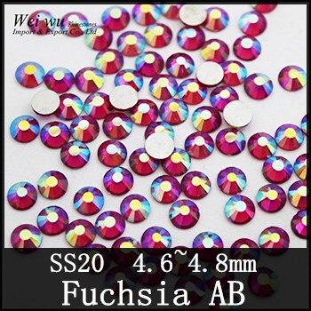 Machine Cut SS20 Fuchsia AB 1440 pcs Verre Matériel Non Correctif Flatback Nail Art Strass Colle SUR