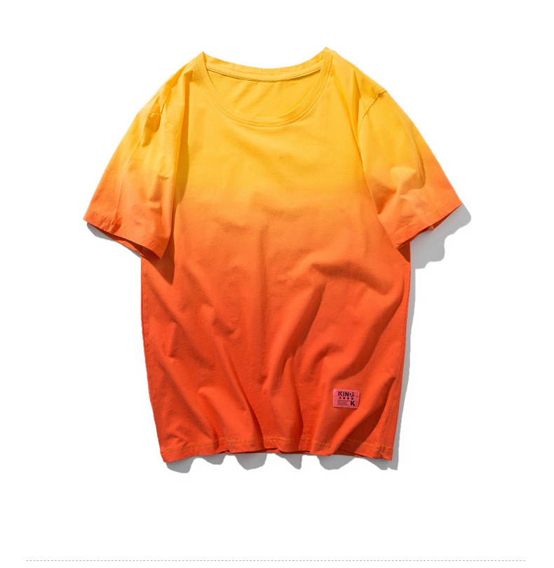 Fashion Mens T-shirt Gradient Short Sleeve Round Neck Cotton