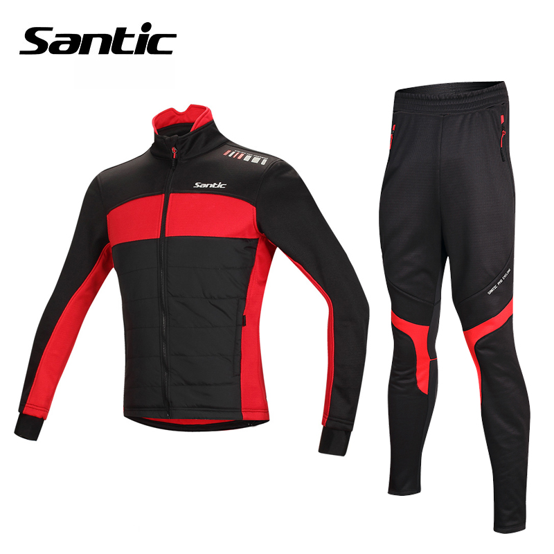 Santic Winter Cycling Jersey + Pants Cycling Set Thermal Fleece Long Sleeve Cycling Suit MTB Bicycle Bike Jersey Sport Clothing black thermal fleece cycling clothing winter fleece long adequate quality cycling jersey bicycle clothing cc5081