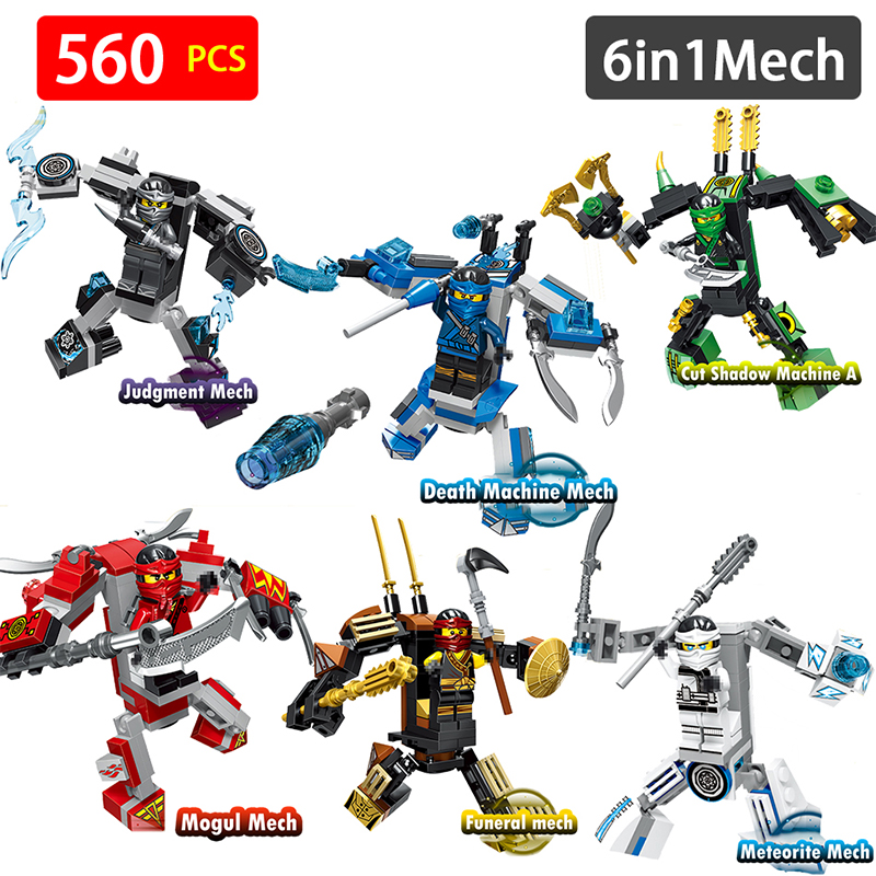 6 in1 Mech Compatible With LegoINGlys Ninjago Ultimate Armor Mechs Building Blocks Bricks Boy Toys For Children Gifts 8 in 1 military ship building blocks toys for boys
