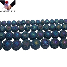 OMH Wholesale 4 6 8 10 12 MM Natural Stone Plating Color Volcanic Lava Bead Bracelet Necklace ZZ15
